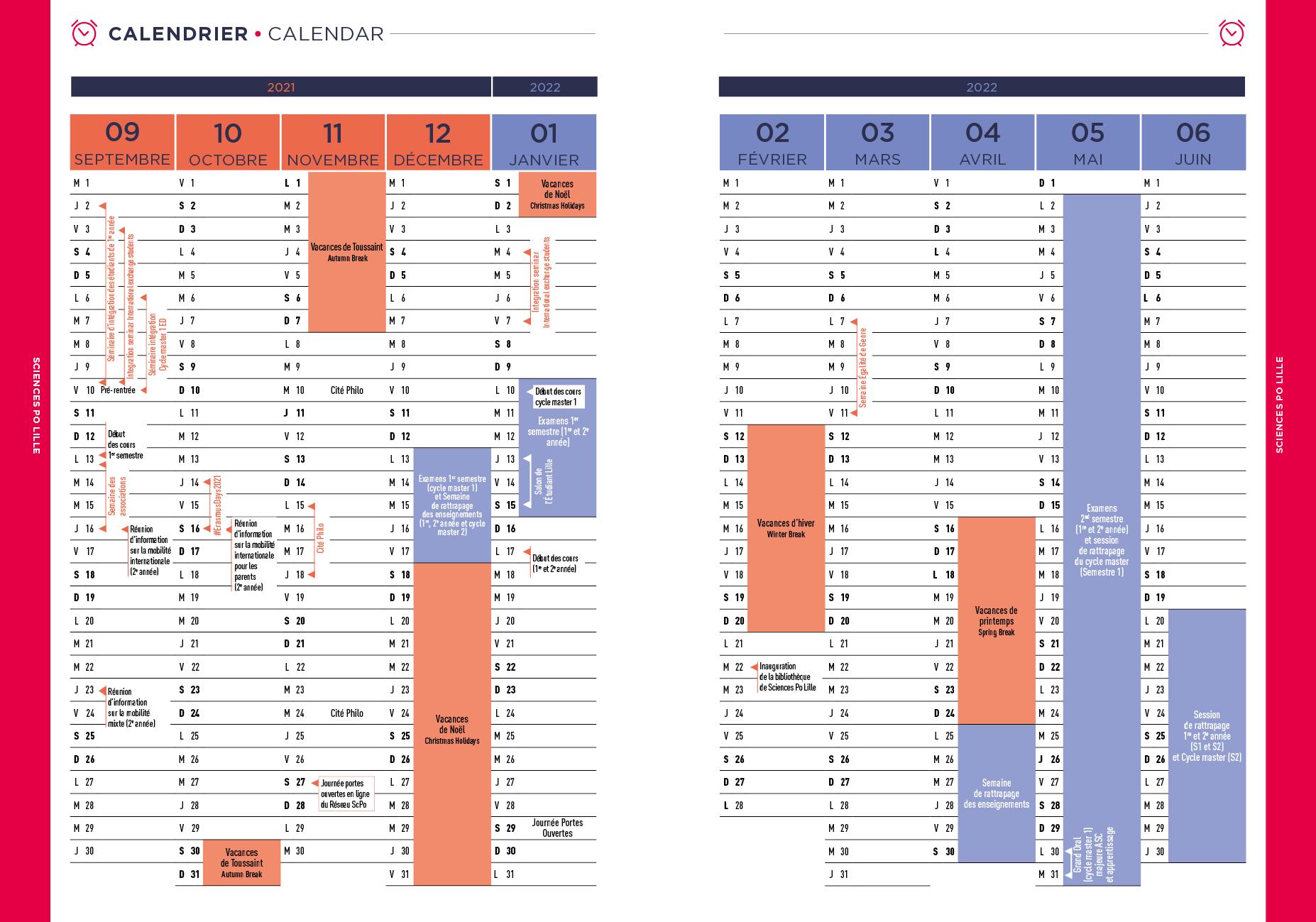 Lille 3 Calendrier 2022 Calendrier universitaire 2021 2022   Sciences Po Lille