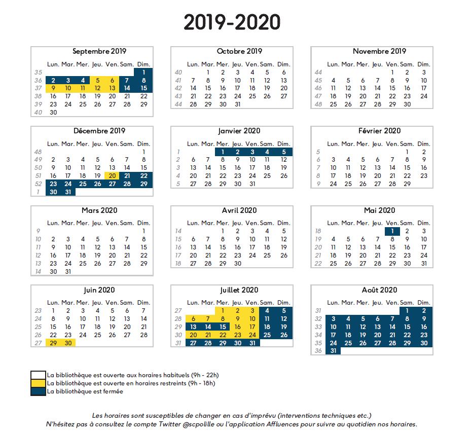 Calendrier Universitaire Lille 3 2019.Calendrier Annuel D Ouverture 2019 2020 Sciences Po Lille